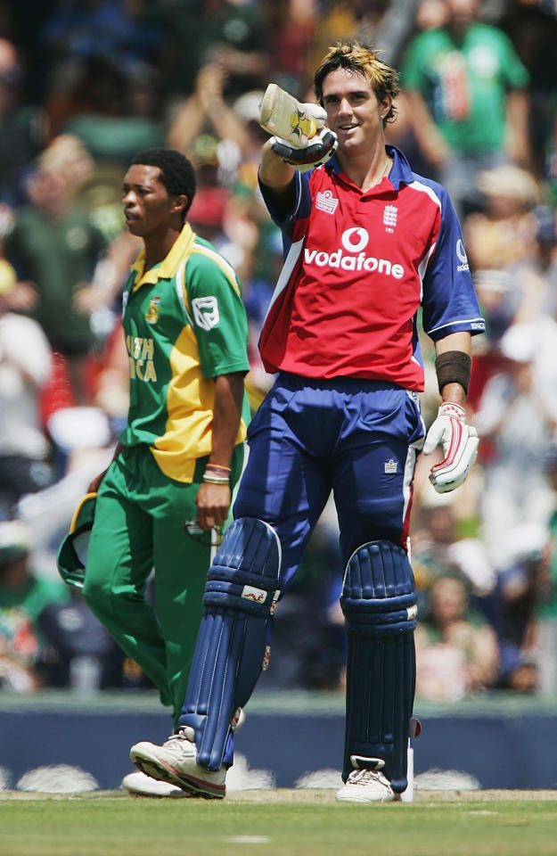 PRETORIA, SOUTH AFRICA -  FEBRUARY 13:  Kevin Pietersen of England celebrates his century during the seventh and final one day international match between South Africa and England at the Centurion Cricket Ground on February 13, 2005 in Pretoria, South Africa. (Photo by Clive Mason/Getty Images)