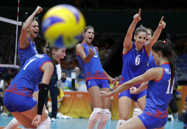 <p>Serbia's team celebrates during their women's preliminary volleyball match against the Netherlands at the Summer Olympics in Rio de Janeiro, Brazil, Sunday, Aug. 14, 2016. (AP Photo/Jeff Roberson) </p>