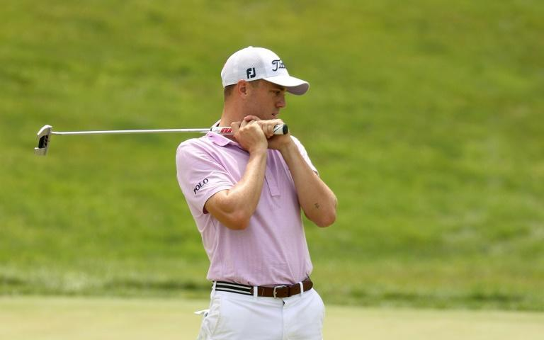Justin Thomas reacts to a missed putt on the 18th green during the second playoff hole during the final round of the Workday Charity Open