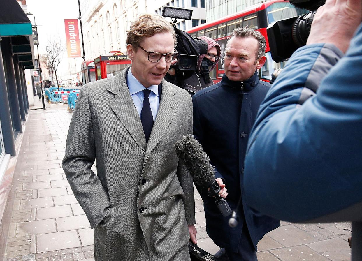 Alexander Nix, CEO of Cambridge Analytica, is seen outside his offices in London on Tuesday. (Photo: Henry Nicholls / Reuters)