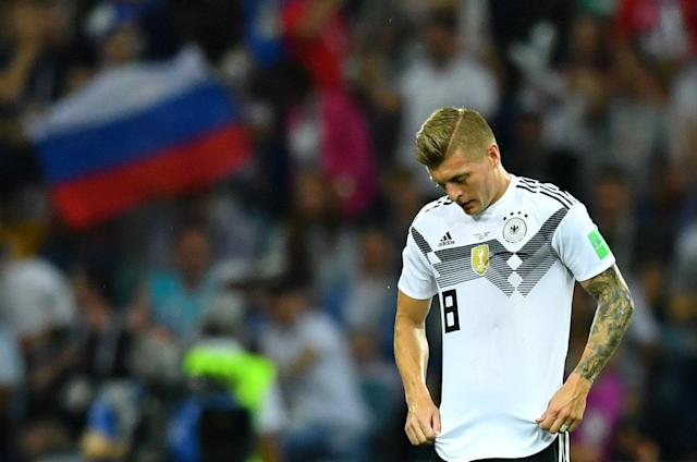 Soccer Football - World Cup - Group F - Germany vs Sweden - Fisht Stadium, Sochi, Russia - June 23, 2018 Germany's Toni Kroos looks dejected after Sweden's Ola Toivonen (not pictured) scored their first goal REUTERS/Dylan Martinez