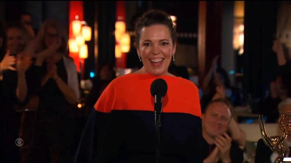 """""""The Crown"""" won best drama series and all four drama acting Emmy Awards on Sunday, including best actress for the queen herself, Olivia Colman."""