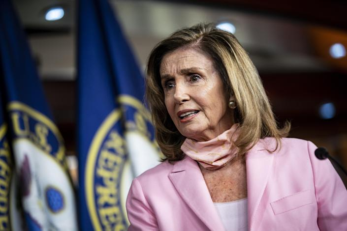 House Speaker Nancy Pelosi at a news conference Saturday at the Capitol. (Al Drago/Bloomberg via Getty Images)