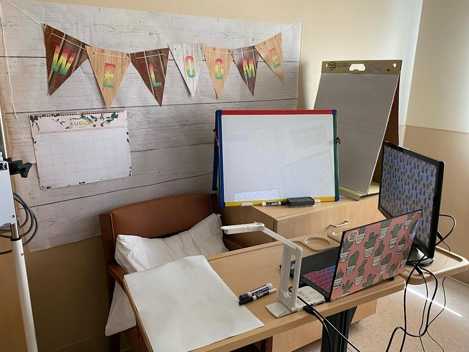 Teacher Janet Udomratsak transformed her hospital room into a makeshift distance learning workspace. (Photo: Janet Udomratsak)