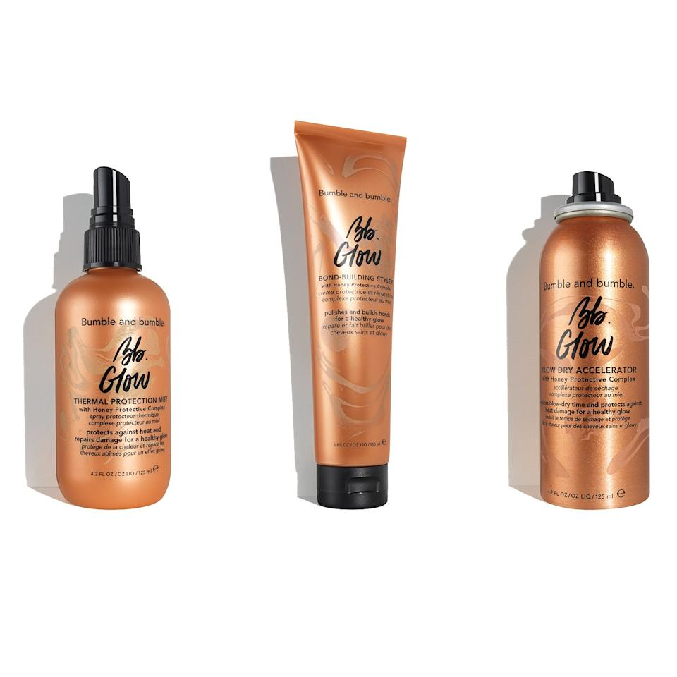 """<p>Bumble and Bumble just released three brand-new products, all made to keep your hair looking healthy after styling —so healthy that it glows. First up is the Glow Bond-Building Styler, which promises to help strengthen and build the bonds in your hair as well as protect from heat damage. It's also got a tiny bit of shimmer, so that your hair really reflects the light when you're all done with that blowout. The Glow Blow Dry Accelerator is a non-aerosol spray that promises to cut down your blow-dry time by half, and the Glow Thermal Protection Mist is the perfect product to ensure your hair has a gorgeous sheen when you're done using all those hot tools.</p> <p>$32 each (<a href=""""https://shop-links.co/1682025774517523288"""">Shop Now</a>)</p>"""