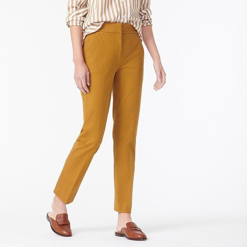 """<br><br><strong>J. Crew</strong> New Remi pant in bi-stretch cotton, $, available at <a href=""""https://go.skimresources.com/?id=30283X879131&url=https%3A%2F%2Fwww.jcrew.com%2Fp%2Fwomens%2Fcategories%2Fclothing%2Fpants%2Fslim%2Fnew-remi-pant-in-bi-stretch-cotton%2FAV394%3Fdisplay%3Dstandard%26fit%3DClassic%26color_name%3Dblack%26colorProductCode%3DAV394"""" rel=""""nofollow noopener"""" target=""""_blank"""" data-ylk=""""slk:J. Crew"""" class=""""link rapid-noclick-resp"""">J. Crew</a>"""