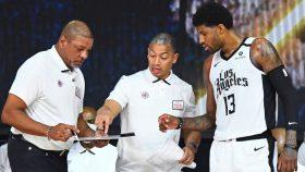 Doc Rivers, Clippers assistant coach Tyronn Lue and Paul George