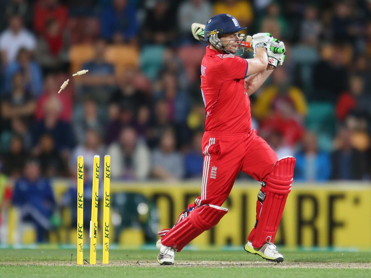HOBART, AUSTRALIA - JANUARY 29:  Luke Wright of England is out bowled during game one of the International Twenty20 series between Australia and England at Blundstone Arena on January 29, 2014 in Hobart, Australia.  (Photo by Scott Barbour/Getty Images)