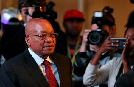 South Africa's President Jacob Zuma arrives for the official announcement of the munincipal election results at the result centre in Pretoria