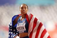"""<p><strong>Sport:</strong> Track and field<br> <strong>Country:</strong> USA</p> <p>The most decorated track and field athlete of all time is looking to return for her fifth Olympics, and to say we're excited is an understatement. Felix, who runs the 400m and 4x400m relay, has had a rollercoaster four years since Rio. In 2018, she gave birth to her daughter, Camryn, after <a href=""""https://www.popsugar.com/family/Allyson-Felix-Preeclampsia-Traumatic-Birth-Experience-46507064"""" class=""""link rapid-noclick-resp"""" rel=""""nofollow noopener"""" target=""""_blank"""" data-ylk=""""slk:undergoing an emergency C-section"""">undergoing an emergency C-section</a>; going through a protracted <span>sponsorship battle with Nike</span>; and returning for an inspiring show at the 2019 world championships that saw her <a href=""""https://www.popsugar.com/fitness/allyson-felix-wins-her-12th-world-championship-title-46695279"""" class=""""link rapid-noclick-resp"""" rel=""""nofollow noopener"""" target=""""_blank"""" data-ylk=""""slk:breaking a medal record"""">breaking a medal record</a> she once held with Usain Bolt. Another year of preparation will likely make Felix an even more fearsome competitor as she looks to add to her collection of Olympic medals (she <a href=""""https://www.teamusa.org/usa-track-and-field/athletes/Allyson-Felix"""" class=""""link rapid-noclick-resp"""" rel=""""nofollow noopener"""" target=""""_blank"""" data-ylk=""""slk:already has nine"""">already has nine</a>).</p>"""