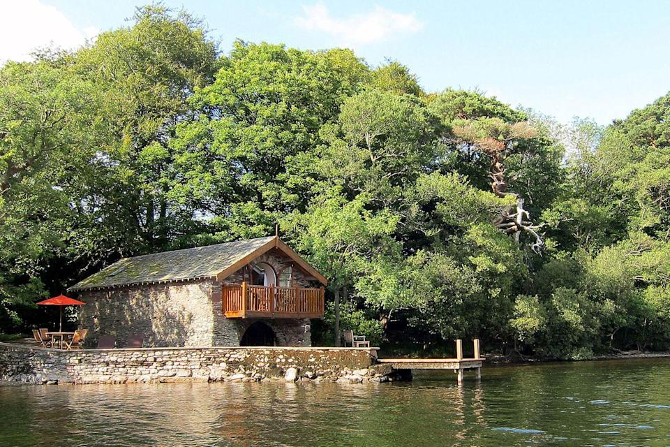 """<p>If you're searching for a romantic, yet unusual holiday destination, then look no further than The Boathouse, an intimate bolthole with a private lakeshore positioned within the idyllic Lake District. This incredibly secluded 19th Century stone building features a balcony perfect for alfresco dinners and nights under the stars. </p><p>For more information visit <a href=""""https://www.i-escape.com/the-boathouse-at-knotts-end"""" rel=""""nofollow noopener"""" target=""""_blank"""" data-ylk=""""slk:i-escape.com"""" class=""""link rapid-noclick-resp"""">i-escape.com</a></p>"""