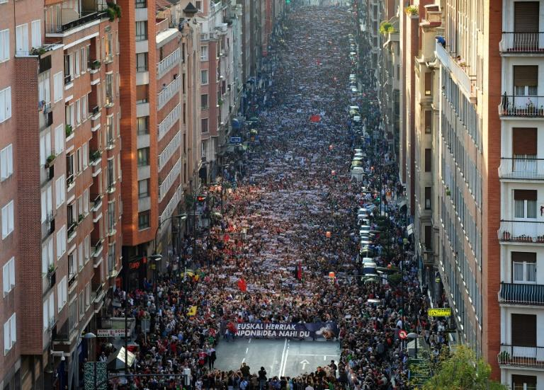 Thousands of people marched in October 2011 in Bilbao for a political solution to the Basque conflict