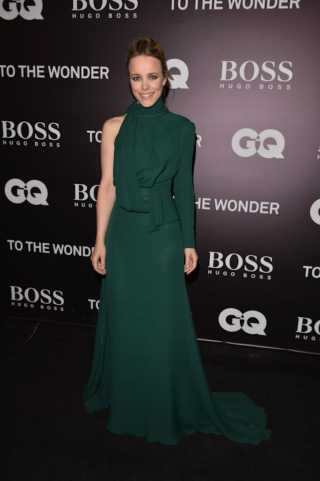 "BEST: This unusual, asymmetrical Elie Saab gown could have gone terribly wrong, but somehow, red carpet maven Rachel McAdams totally rocks it at the ""To The Wonder"" premiere. Forest green is her colour!"