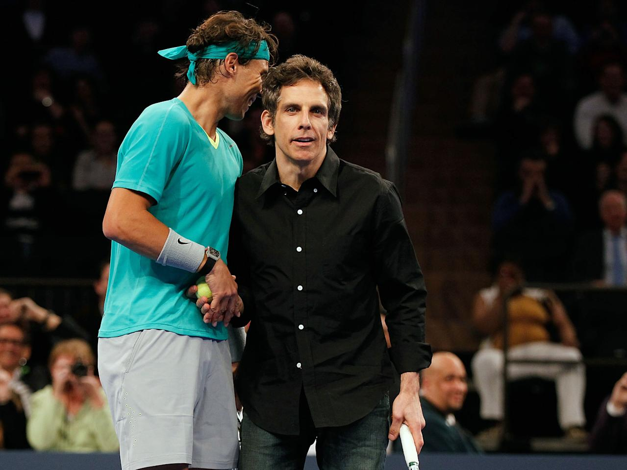 NEW YORK, NY - MARCH 04:  Actor Ben Stiller comes out to play with Rafael Nadal of Spain in the second set against Juan del Potro of Argentina during the BNP Paribas Showdown at Madison Square Garden on March 4, 2013 in New York City.  (Photo by Mike Stobe/Getty Images for StarGames)