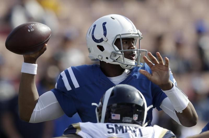 Jacoby Brissett will earn his first start with the Colts on Sunday, according to Ian Rapoport of the NFL Network. (AP)