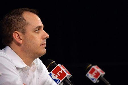 Indiana Pacers head coach Frank Vogel at a press conference before game six of the Eastern Conference Finals of the 2014 NBA Playoffs against the Miami Heat at American Airlines Arena. Mandatory Credit: Steve Mitchell-USA TODAY Sports