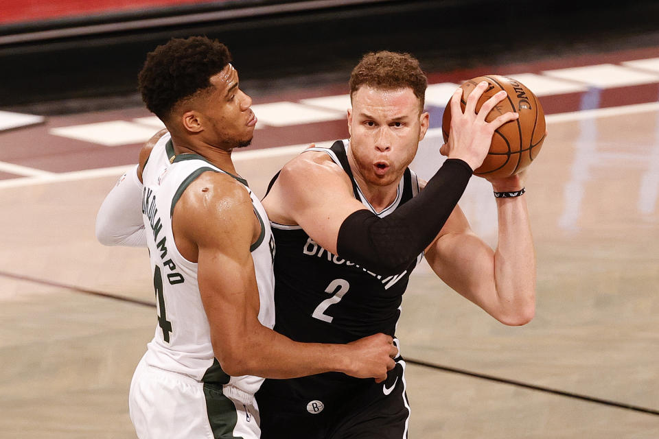 Blake Griffin and the Nets are up 1-0 on Giannis Antetokounmpo and the Bucks. (Photo by Tim Nwachukwu/Getty Images)