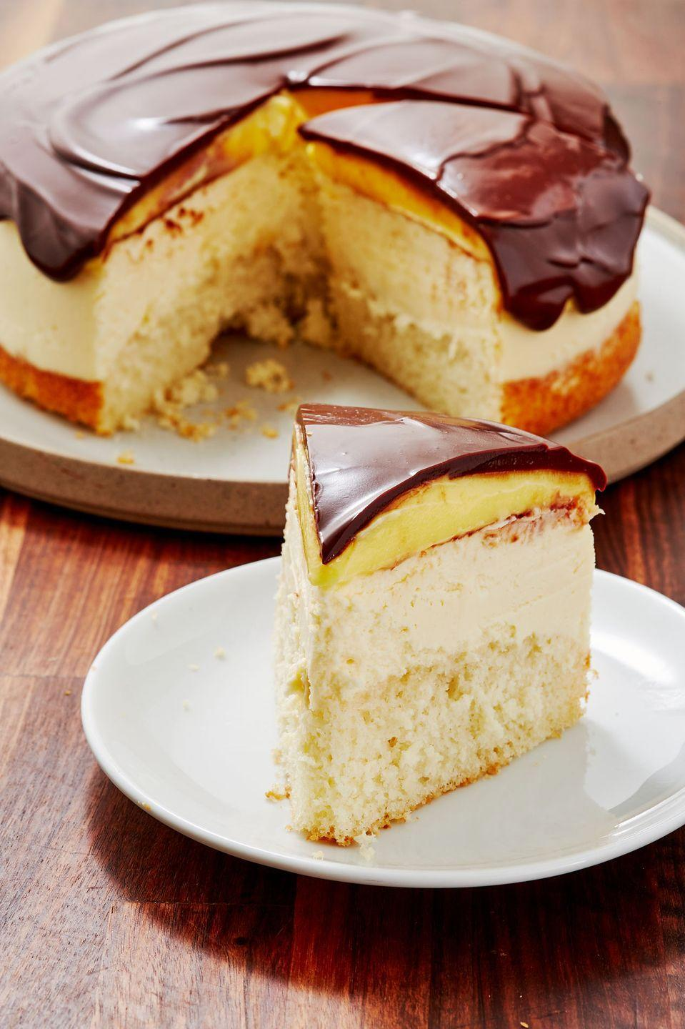 """<p>A new version of the beloved Boston Cream Pie.</p><p>Get the recipe from <a href=""""https://www.delish.com/cooking/recipe-ideas/recipes/a55967/boston-cream-cheesecake-recipe/"""" rel=""""nofollow noopener"""" target=""""_blank"""" data-ylk=""""slk:Delish"""" class=""""link rapid-noclick-resp"""">Delish</a>. </p>"""
