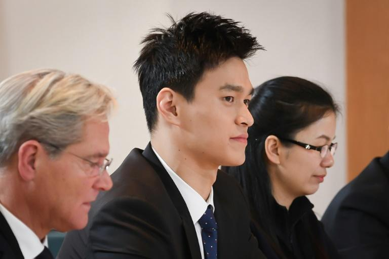 Sun (C) attended Court of Arbitration for Sport hearings in 2019