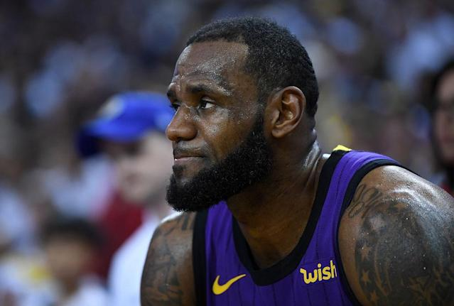 "<a class=""link rapid-noclick-resp"" href=""/nba/players/3704/"" data-ylk=""slk:LeBron James"">LeBron James</a> left Tuesday's game against the <a class=""link rapid-noclick-resp"" href=""/nba/teams/gsw"" data-ylk=""slk:Warriors"">Warriors</a> with a left groin strain that will leave him sidelined on Thursday. (Getty Images)"