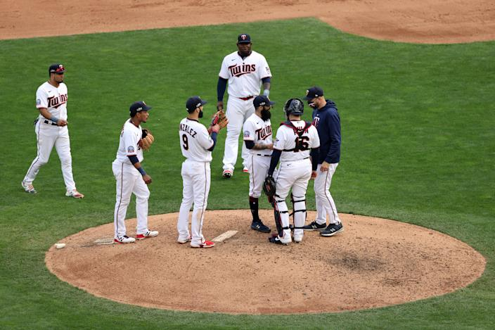 The Twins lost their 17th straight postseason game on Tuesday. (Photo by Jordan Johnson/MLB Photos via Getty Images)