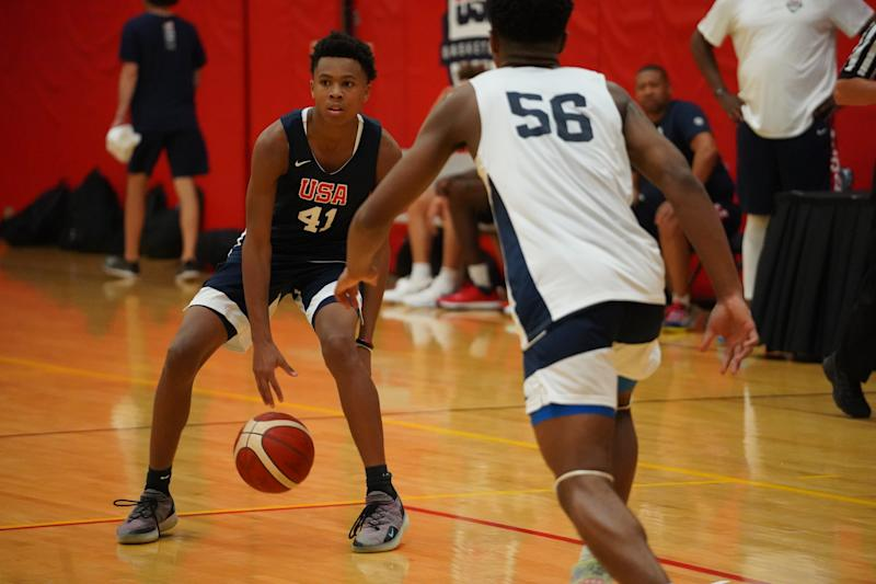 D.J. Wagner dribbles the ball during USA Basketball's training camp. (Photo credit: USA Basketball)