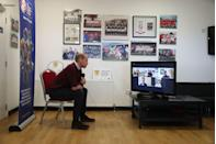 <p>Participating in a video call with four nation players—England's Harry Kane, Scotland's David Marshall, Northern Ireland's Julie Nelson. and Welsh professional footballer Jess Fishlock—during a visit to Spartans FC's Ainslie Park Stadium on May 21, 2021 in Edinburgh, Scotland.</p>