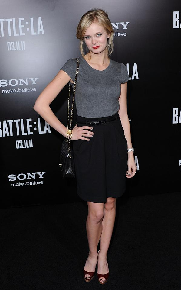 """<a href=""""http://movies.yahoo.com/movie/contributor/1804501765"""">Sara Paxton</a> at the Los Angeles premiere of <a href=""""http://movies.yahoo.com/movie/1810119633/info"""">Battle: Los Angeles</a> on March 8, 2011."""