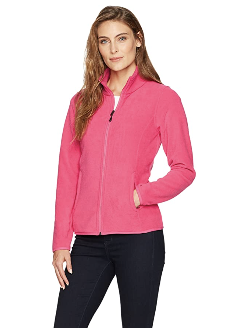 Essentials Girls Full-Zip Polar Fleece Jacket Dark Pink Small