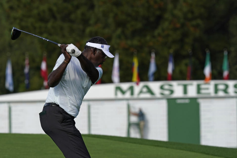 Vijay Singh, of Fiji, tees off at the first hole during the first round of the Masters golf tournament Thursday, Nov. 12, 2020, in Augusta, Ga. (AP Photo/David J. Phillip)