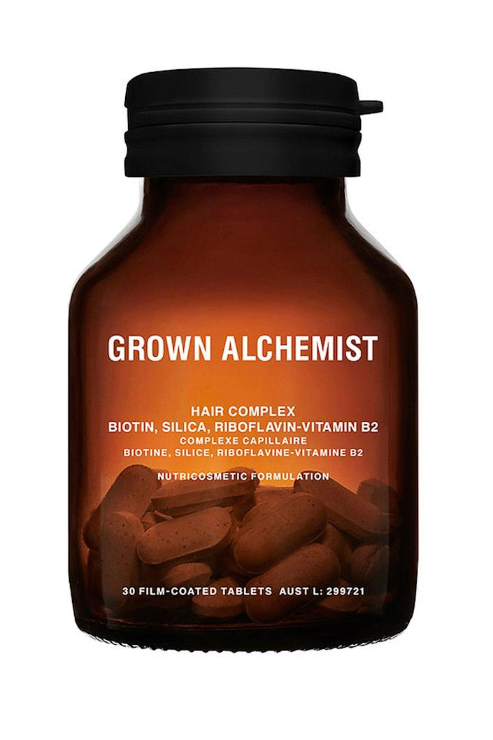 """<p><strong>Grown Alchemist</strong></p><p>verishop.com</p><p><strong>$75.00</strong></p><p><a href=""""https://go.redirectingat.com?id=74968X1596630&url=https%3A%2F%2Fwww.verishop.com%2Fproduct%2Fp4101182881827%3Fvariant_id%3D30140266151971%26campaign_id%3D8753835539%26adset_id%3D86956456503%26ad_id%3D410038141879%26kwid%3Dpla-302011026418%26d%3Dc%26adtype%3Dpla%26pid%3DE10039013056000%26gclid%3DCj0KCQiAqNPyBRCjARIsAKA-WFyXbNFgpIquVn3SjI4IjKBoxYq-UaS0-khQwGySuaxFDjEzkWOzZGUaArRlEALw_wcB&sref=https%3A%2F%2Fwww.elle.com%2Fbeauty%2Fg31099887%2Fbest-hair-growth-vitamins%2F"""" rel=""""nofollow noopener"""" target=""""_blank"""" data-ylk=""""slk:Shop Now"""" class=""""link rapid-noclick-resp"""">Shop Now</a></p><p>Australian brand Grown Alchemist uses usual suspects like biotin and silica to restore lustre and shine. But the key ingredient is riboflavin, an essential agent for repairing tissue and promoting hair growth. The formula is also natural and non-toxic. </p>"""