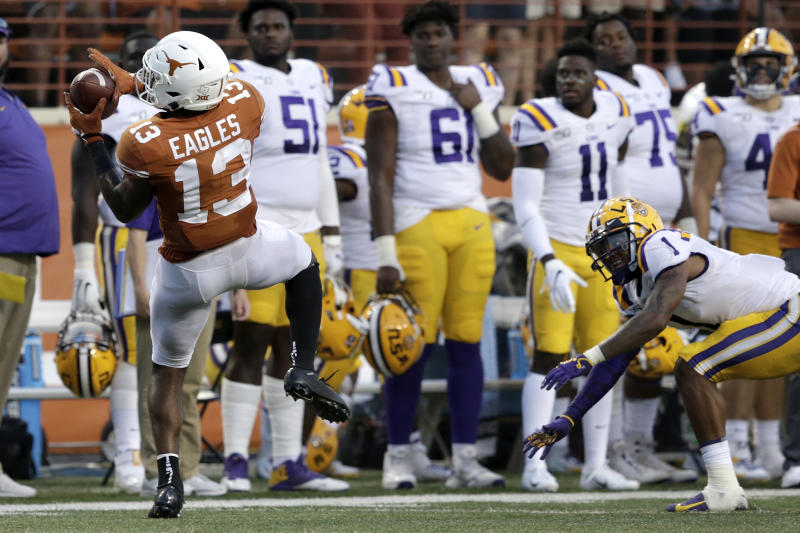 LSU CB Kristian Fulton (1) was beaten for a late touchdown by Texas' Brennan Eagles. (Getty Images)