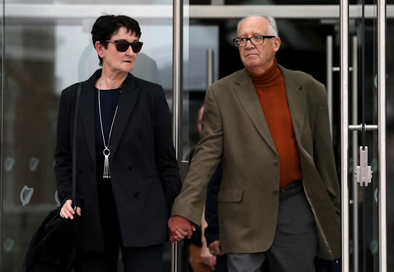 Ana Kriegel's parents, Geraldine and Patric Kriegel leaving the Criminal Courts of Justice in Dublin. (PA)
