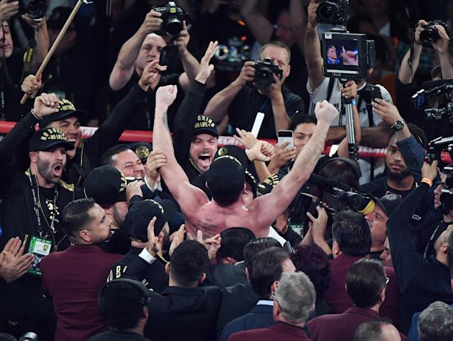 Canelo Alvarez celebrates his majority decision win over Gennady Golovkin Saturday at T-Mobile Arena in Las Vegas. (Getty Images)
