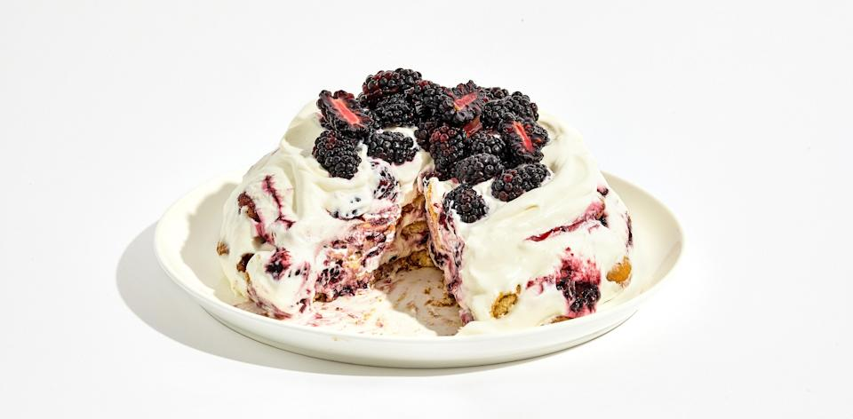 "This creamy, dreamy icebox cake—built in a bowl for maximum ease—is the no-bake dessert you'll be making all summer. <a href=""https://www.bonappetit.com/recipe/blackberry-icebox-cake?mbid=synd_yahoo_rss"" rel=""nofollow noopener"" target=""_blank"" data-ylk=""slk:See recipe."" class=""link rapid-noclick-resp"">See recipe.</a>"