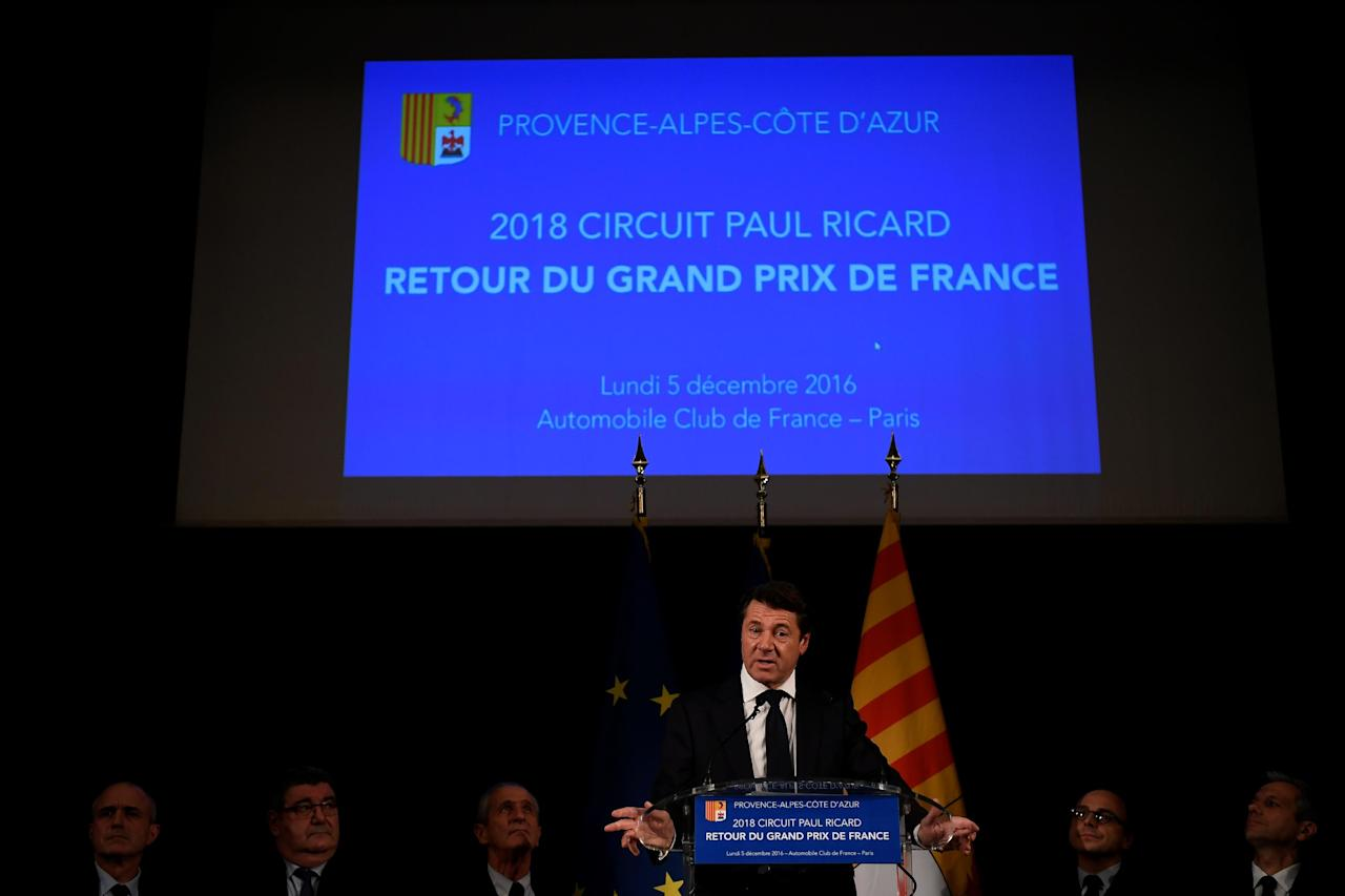 Christian Estrosi, the president of the Regional Council of Provence-Alpes-Cote d'Azur gives a presss conference about the future of the French Formula One Grand Prix in Paris on December 5, 2016.The French Grand Prix will return to the Formula 1 calendar after an absence of 10 years. Le Castellet - also known as the Circuit Paul Ricard, will host the event. (AFP Photo/Lionel BONAVENTURE)
