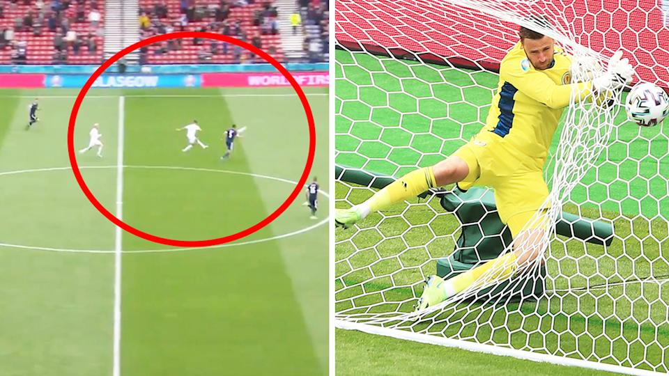 Czech Republic's Patrik Schick (pictured left) shooting and (pictured right) Scotland keeper David Marshal jumping into goal.