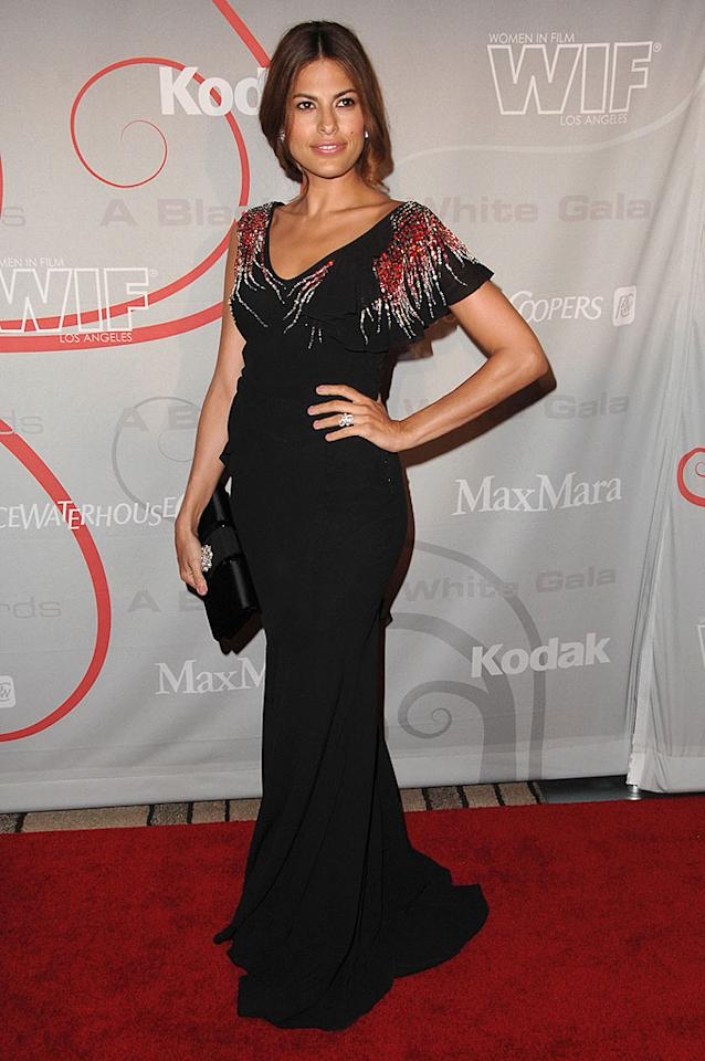 """Eva Mendes arrived at the Women In Film's 2008 Crystal + Lucy Awards in Beverly Hills, which honors achievement in film and television. The Cuban-American beauty's asymmetrical dress fit the night's theme: """"A Black and White Gala."""" Steve Granitz/<a href=""""http://www.wireimage.com"""" target=""""new"""">WireImage.com</a> - June 17, 2008"""