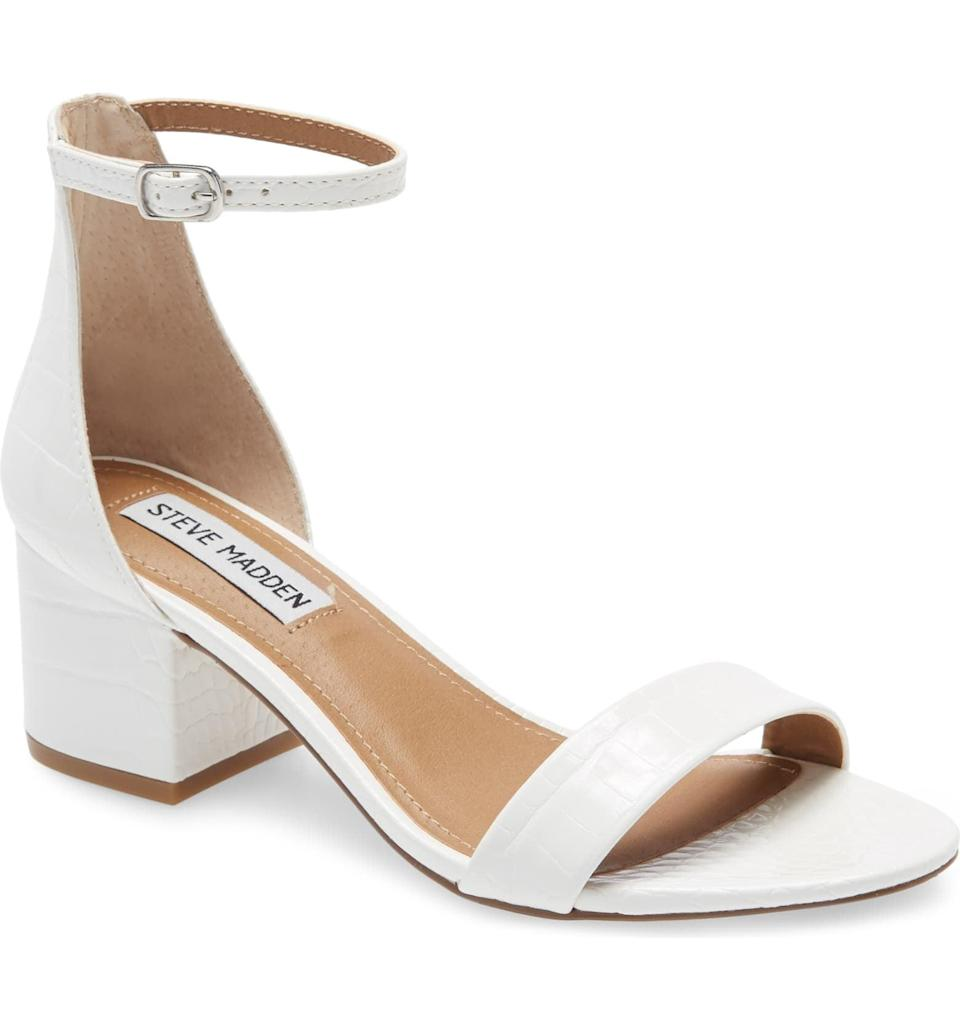 """<p>You can't go wrong with these affordable and classic <a href=""""https://www.popsugar.com/buy/Steve-Madden-Irenee-Ankle-Strap-Sandals-587295?p_name=Steve%20Madden%20Irenee%20Ankle%20Strap%20Sandals&retailer=shop.nordstrom.com&pid=587295&price=49&evar1=fab%3Aus&evar9=23528872&evar98=https%3A%2F%2Fwww.popsugar.com%2Fphoto-gallery%2F23528872%2Fimage%2F47599868%2FSteve-Madden-Irenee-Ankle-Strap-Sandals&list1=shopping%2Cwedding%2Cshoes%2Cbridal%2Cfashion%20shopping&prop13=api&pdata=1"""" class=""""link rapid-noclick-resp"""" rel=""""nofollow noopener"""" target=""""_blank"""" data-ylk=""""slk:Steve Madden Irenee Ankle Strap Sandals"""">Steve Madden Irenee Ankle Strap Sandals</a> ($49, originally $82).</p>"""