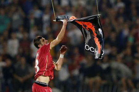 Stefan Mitrovic of Serbia grabs a flag depicting so-called Greater Albania, an area covering all parts of the Balkans where ethnic Albanians live, that was flown over the pitch during the Euro 2016 Group I qualifying soccer match between Serbia and Albania at the FK Partizan stadium in Belgrade October 14, 2014. REUTERS/Marko Djurica