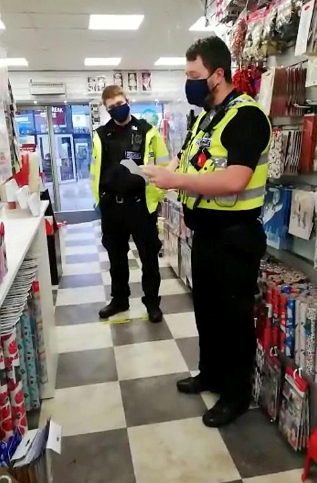 Police visited Grace Cards & Books in the St Andrews Square shopping centre, Droitwich. (SWNS)