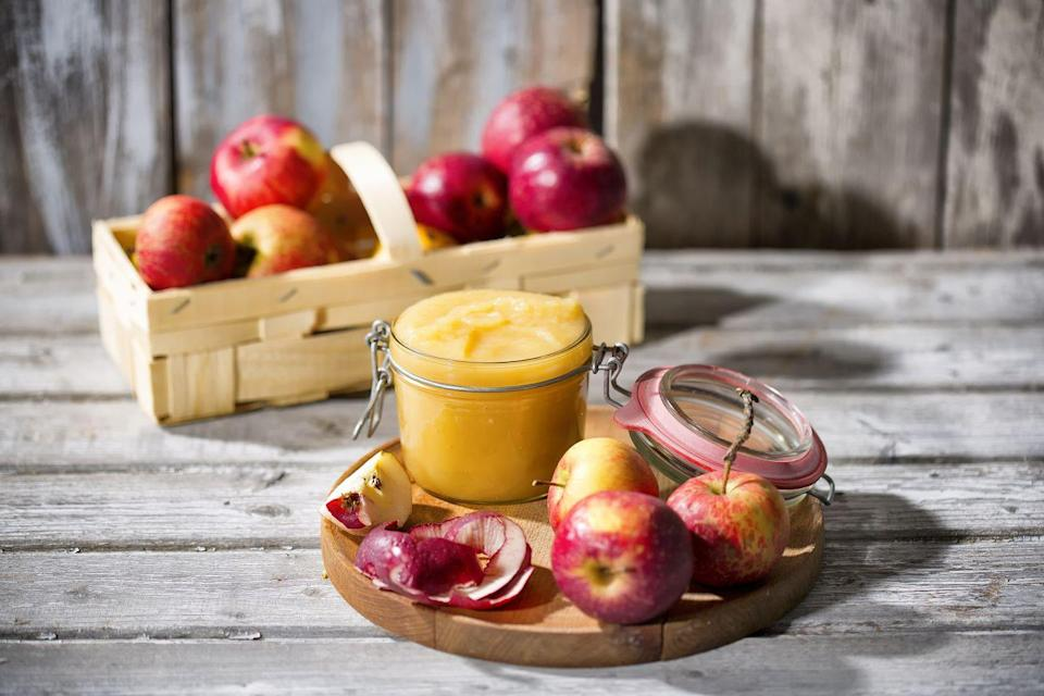 """<p>Believe it or not, unsweetened <a href=""""https://www.goodhousekeeping.com/food-recipes/a28943684/applesauce-recipe/"""" rel=""""nofollow noopener"""" target=""""_blank"""" data-ylk=""""slk:applesauce"""" class=""""link rapid-noclick-resp"""">applesauce</a> can make a great substitute for vegetable oil in your baked goods, particularly in any breads, cakes, and <a href=""""https://www.goodhousekeeping.com/food-recipes/healthy/g4075/healthy-muffin-recipes/"""" rel=""""nofollow noopener"""" target=""""_blank"""" data-ylk=""""slk:muffins"""" class=""""link rapid-noclick-resp"""">muffins</a>, as it is will add moisture and actually has fewer calories than oil. Because of its natural sweetness, you can even reduce the amount of sugar you're using in your recipe! </p>"""