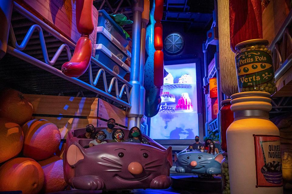 Remy's Ratatouille Adventure is a family-friendly attraction where guests feel as if they shrink to the size of a rat and race through Gusteau's restaurant in the newly expanded France pavilion at EPCOT at Walt Disney World Resort in Lake Buena Vista, Fla.