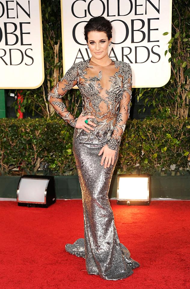 Lea Michele arrive at the 69th Annual Golden Globe Awards in Beverly Hills, California, on January 15.