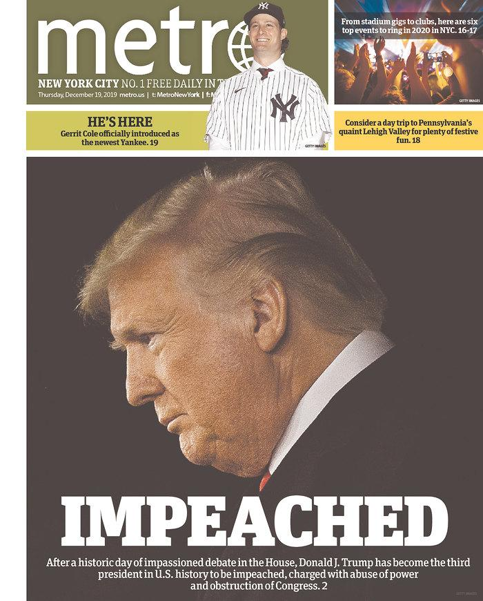 The front page of Thursday's Metro New York. (Newseum.org)