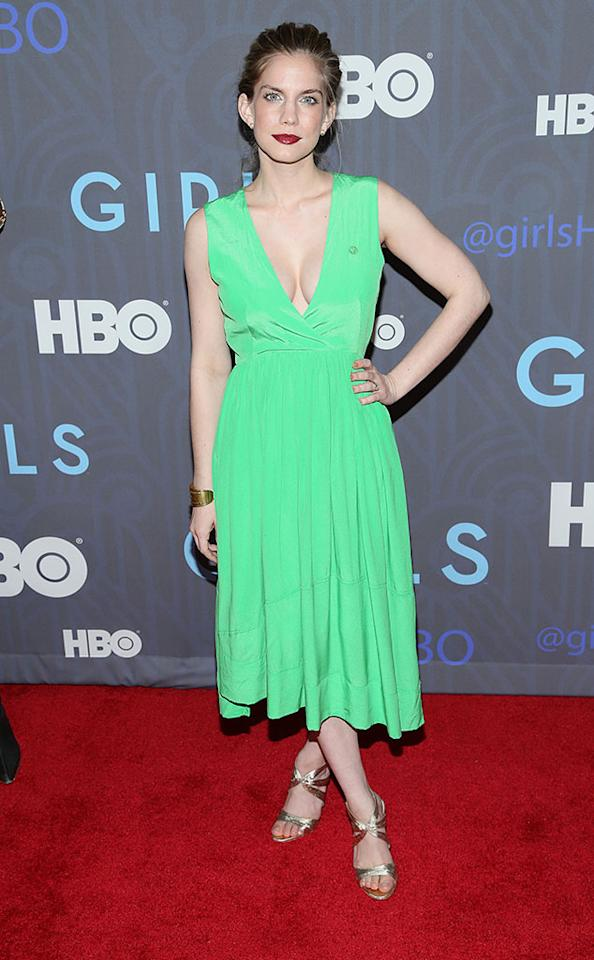 "Anna Chlumsky attends HBO's premiere of ""Girls"" Season 2 at the NYU Skirball Center on January 9, 2013 in New York City."