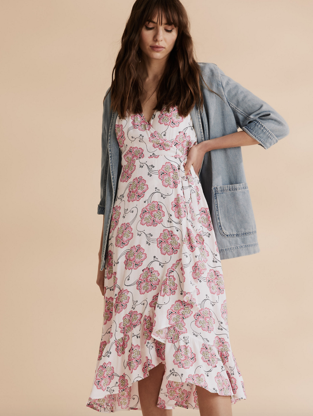 The design has a wrap front and ruffle hem, as well as an affordable price tag. (M&S)