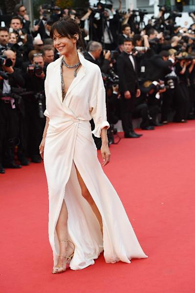 French actress Sophie Marceau also wore white on the Croisette, flashing a little leg in an Alexandre Vauthier gown with a slit skirt.