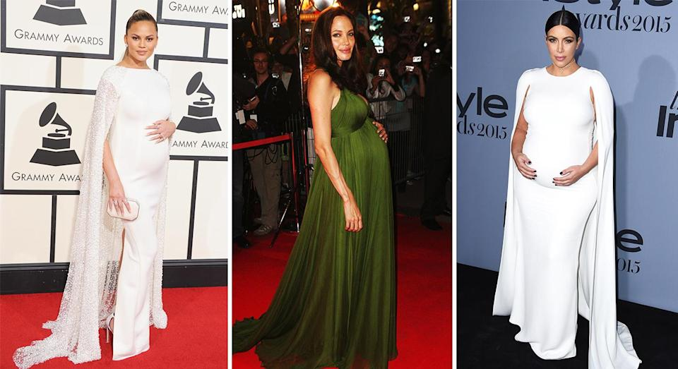 Why do pregnant celebrities cradle their baby bumps on the red carpet? [Photo: Getty]