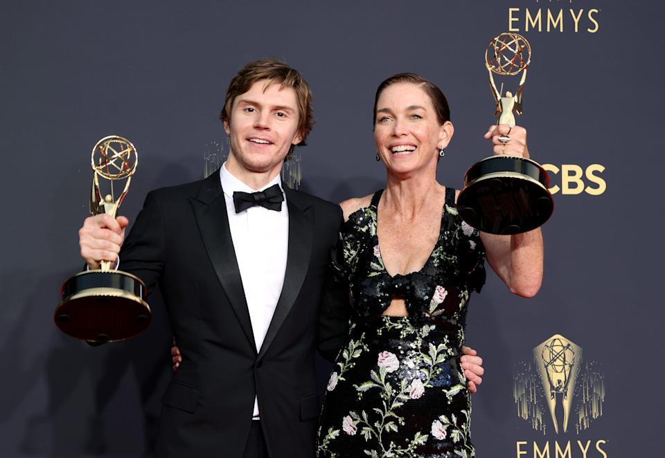 """Evan Peters and Julianne Nicholson won supporting Emmy honors for their roles in """"Mare of Easttown."""""""